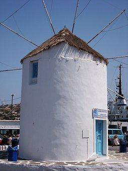Mill, Paros, Cyclades, Greces, Holiday, Travel, Blue