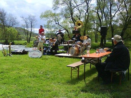 Music, Jazz, Musician, Instruments, Jagst, River
