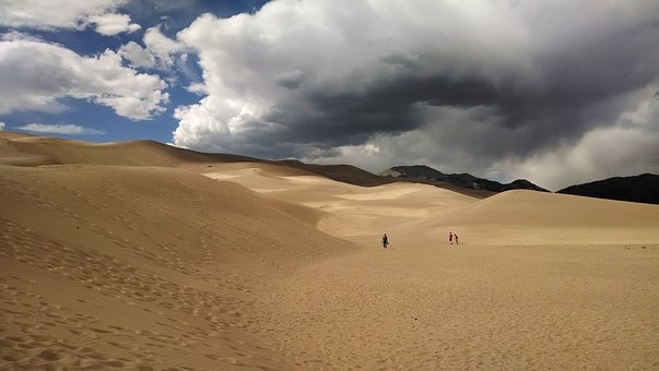 Sand, Great Sand Dunes, National Park, Sky, Mountains