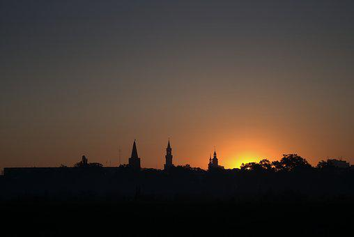 Sunrise, Opole, City, Contours, The Cathedral
