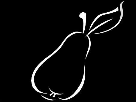 Fruit, Pear, Contour, Outlines, White-black, Silhouette