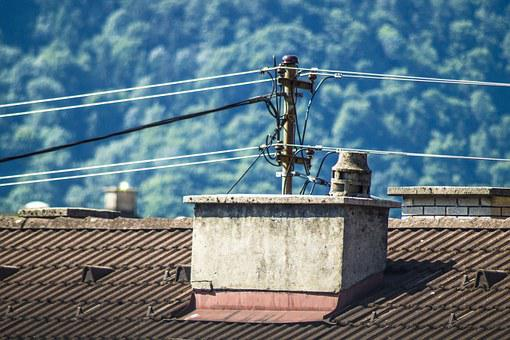 Fireplace, Power Line, Roof, Power Lines, House Roof