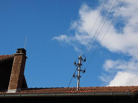Roof, Home, Current, Power Lines, Insulators