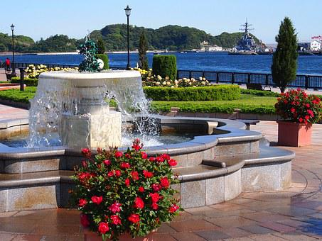 Verny Park, France, Rose, Red, Fountain, Water, Sea