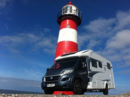 Mobile Home, Lighthouse, Blue Sky, Sea, Blue, Sky