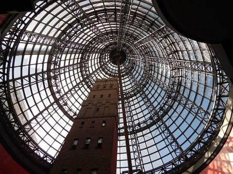 Melbourne, Australia, Shopping Center, Overhead, Cone