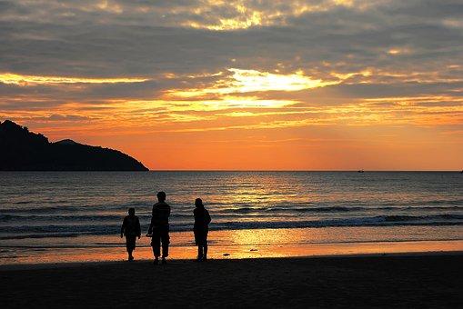 Family, Sunset, Beach, Evening, Silhouette, Lf, My Dad