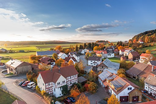Village, Landscape, Houses, Aerial View, Top, Hesse