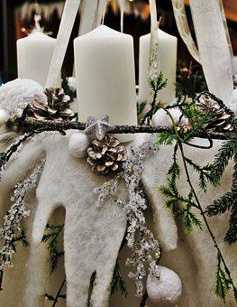 White Christmas Wreath, White Candles, White