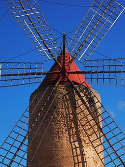 Windmill Blades, Windmill, Mill, Wind Power, Algaida
