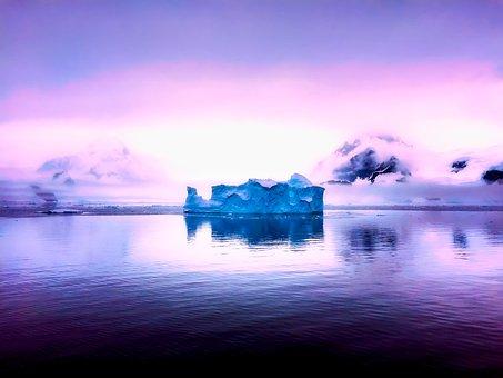 Antarctica, Mountains, Sunrise, Sea, Ocean, Reflection