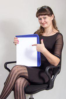 Business, Lady, Shows, Contract, Sheet, Paper, Armchair