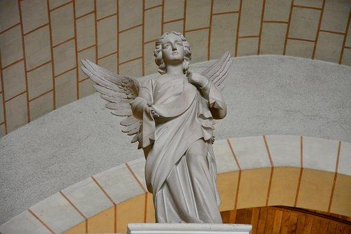 Statue Angel, Carved Stones, Church Tinteniac Brittany