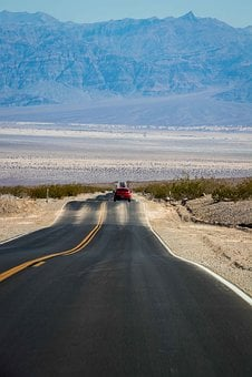 Valley, Death, Desert, Highway, Auto, Red, Car, Vehicle