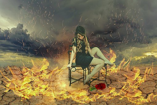 Fantasy Picture, Withered Earth, Sky, Fire, Woman