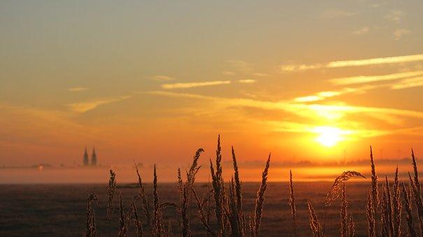 Sunrise, Fog Light, Sky Characters, Oschatz, Sun
