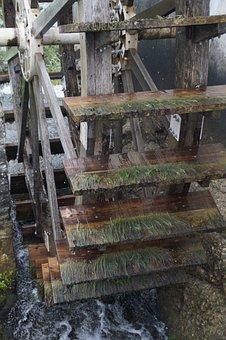 Mill Wheel, Wooden Wheel, Water Drive, Water Power