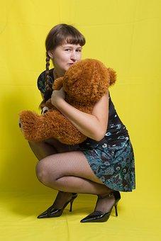 Girl, Plush, Bear, Toy, Pigtails, Teddy Bear, Childhood