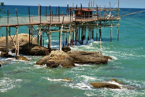 Fisherman's Hut, Web, Sea, Water, Boardwalk, By The Sea