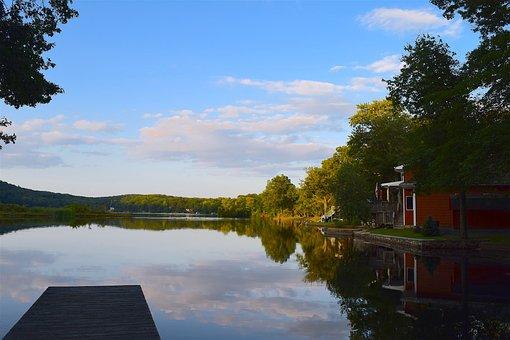 Lake, Sunset, Dock, Shore, Trees, Sky, House, Water