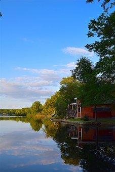 Lake, Sunset, Shore, Sky, House, Water, Landscape