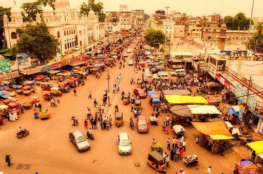 Hyderabad, India, City, Urban, People, Haze, Cityscape