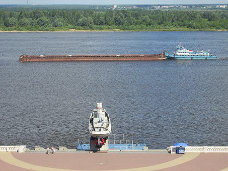 River, Volga, Freighter, Ship, Transport, Water