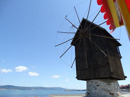 Windmill, Coastal, Nessabar, Wind, Sky, Sea, Landscape
