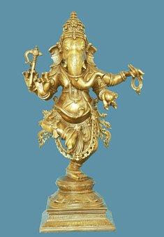 Dancing Ganesh, God, Hindu, Elephant, Blue Dance