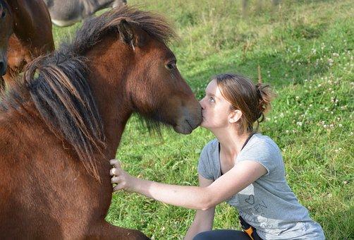 Kiss, Shetland Pony, Girl, Young Woman, Complicity