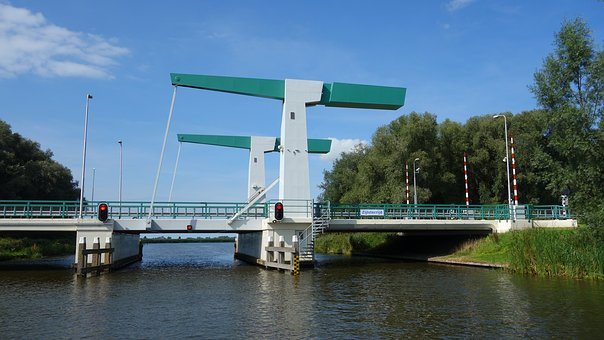 Lift Bridge, Bridge, River, Water, Friesland, Channel
