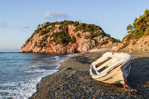 Beach, Wild, Empty, Nature, Morning, Landscape, Boat