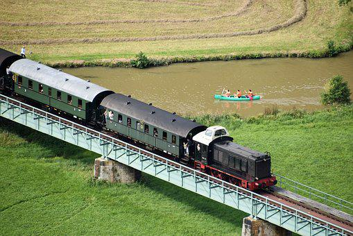 Old And New, Train, River, Canoeing, Kayak, Nature