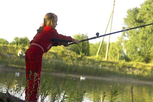 Fishing, Girl, Rod, Nature, Lake, Small River, Vacation