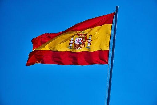 Spain, Flag, International, Europe, Sky, Flutter, Blow