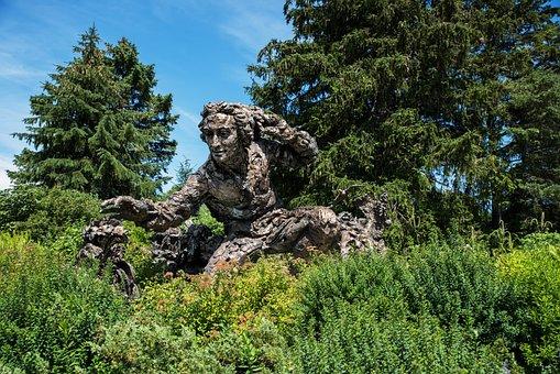 Chicago Botanic Garden, Flower, Statue