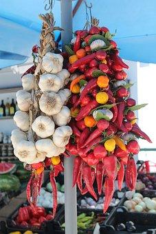 Onion, Paprika, Pepper, Vegetables, Market