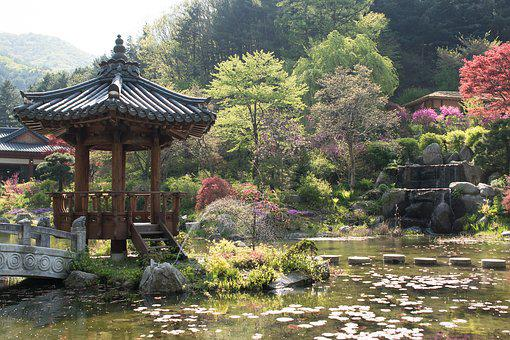 Pavilion, Korean, Traditional, Architecture, Water