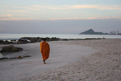 พระ, Alms, Beach, Sea View, Buddhism, Thailand