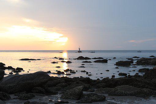 Huahin, Beach, Sunrise, Thailand, Sun, Morning, Sea