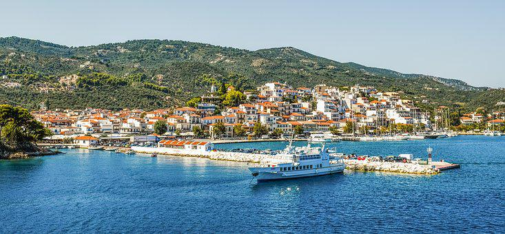 Greece, Skiathos, Chora, Town, Port, Island, Summer