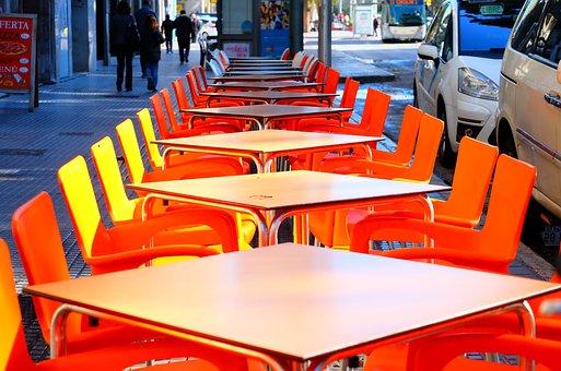 Tables, Street, Bar, Restaurant, Cafe, City, Food