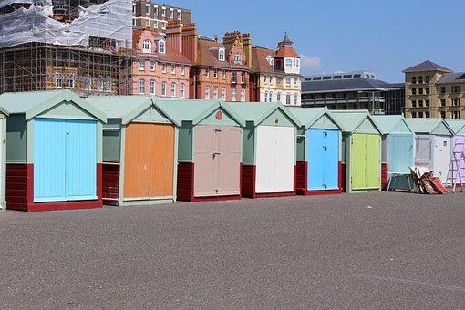 Hove, Brighton, Color, England, Sussex, Sea, Hove Huts