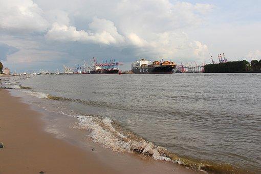 Port, Elbe, Container Terminal, Hamburg, Container
