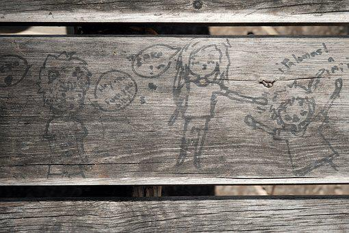 Paint, Children, Wood, Bench, Child, Drawing, Kid