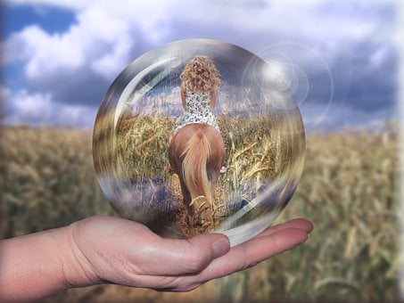Horsewoman, Girl, Human, Reiter, Glass Ball, Cornfield