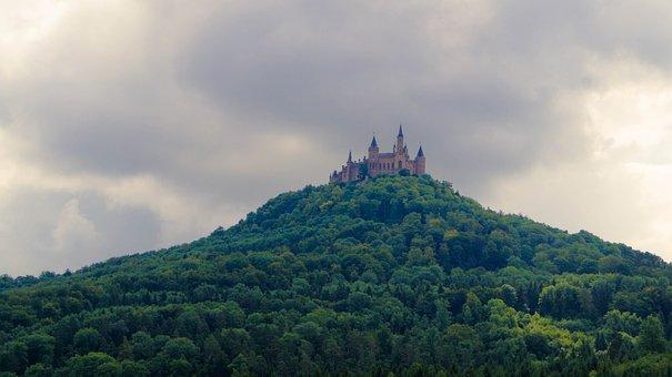 Castle, Grass, Mountain, Trees, Sky, Gloomy
