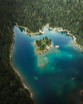 Lake, Island, Nature, Landscape, Scenery, Blue, Europe