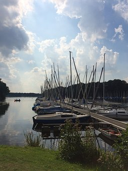 Lake, Harbour, Boats, Germany, Halterner Stausee, Sun