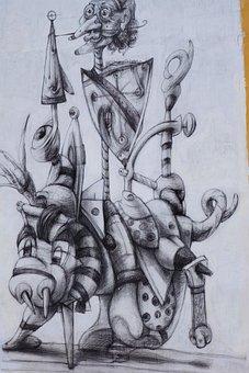 Don Quixote, Caricature, Paint, Urban, Design, Wall